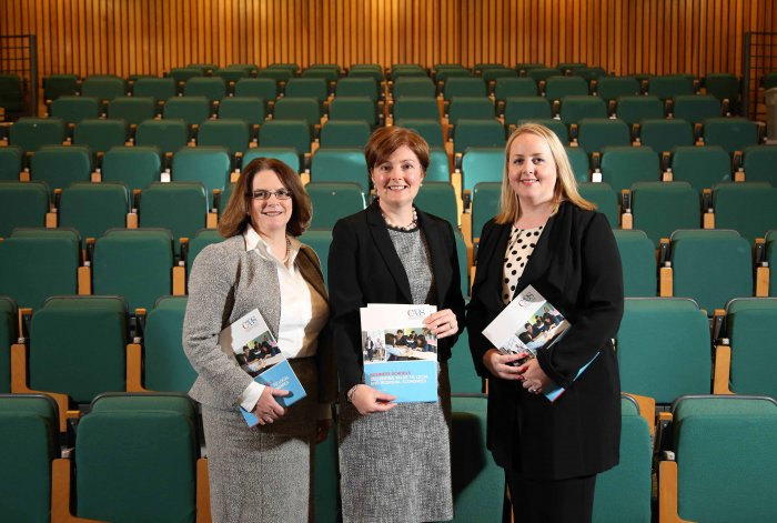Pictured at the launch of the CABS report are centre, Gillian Armstrong, Professor of Business Education at Ulster University Business School, Anne Kiem, left, Chief Executive of the Chartered Association of Business Schools and Kirsty McManus, Head of Business Development, NI Chamber of Commerce and Industry.